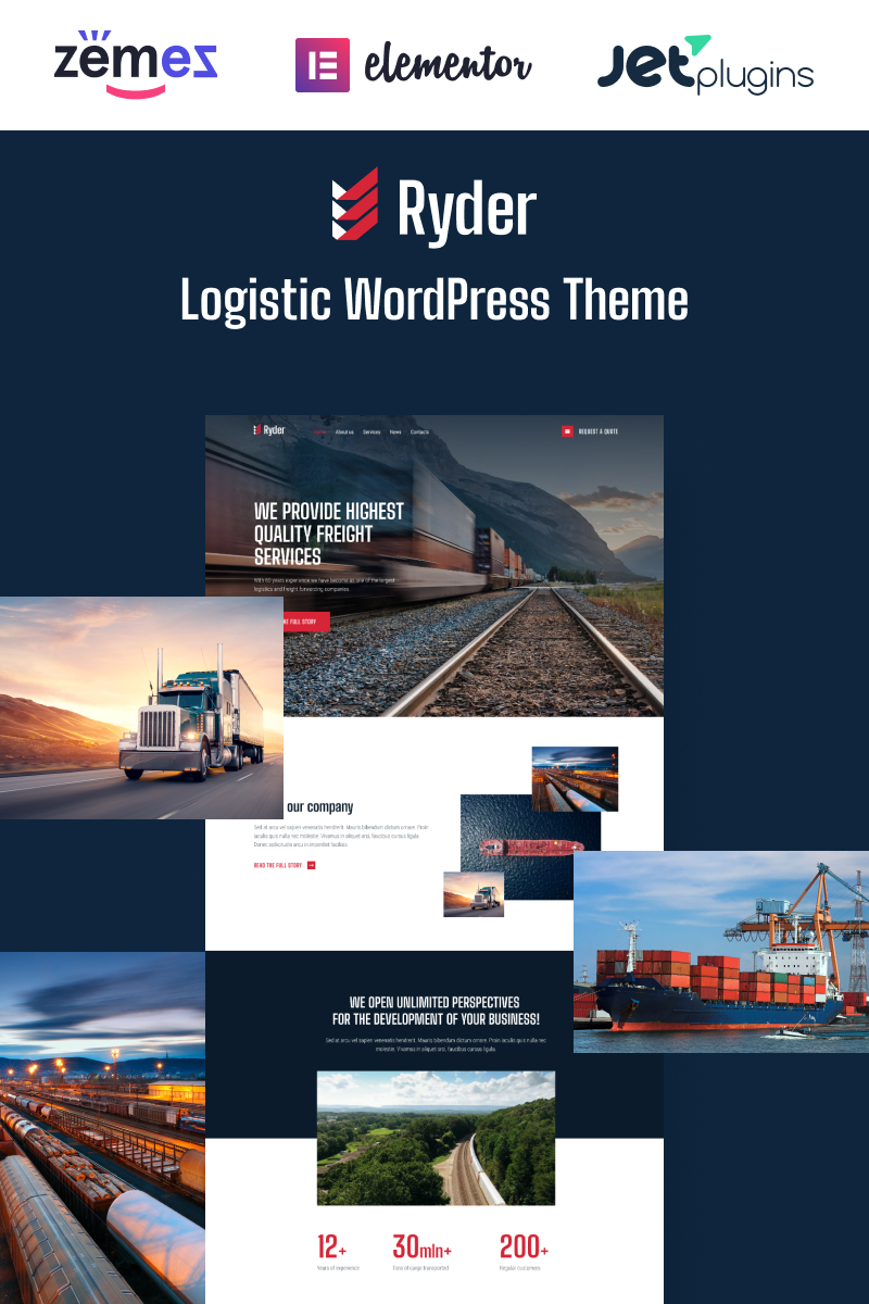 Responsywny motyw WordPress Ryder - Logistic Website Design for Moving Companies #94816