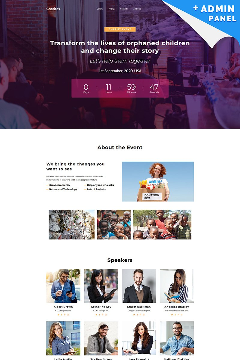 Responsywny szablon Landing Page Charitex - Event Planner #94871