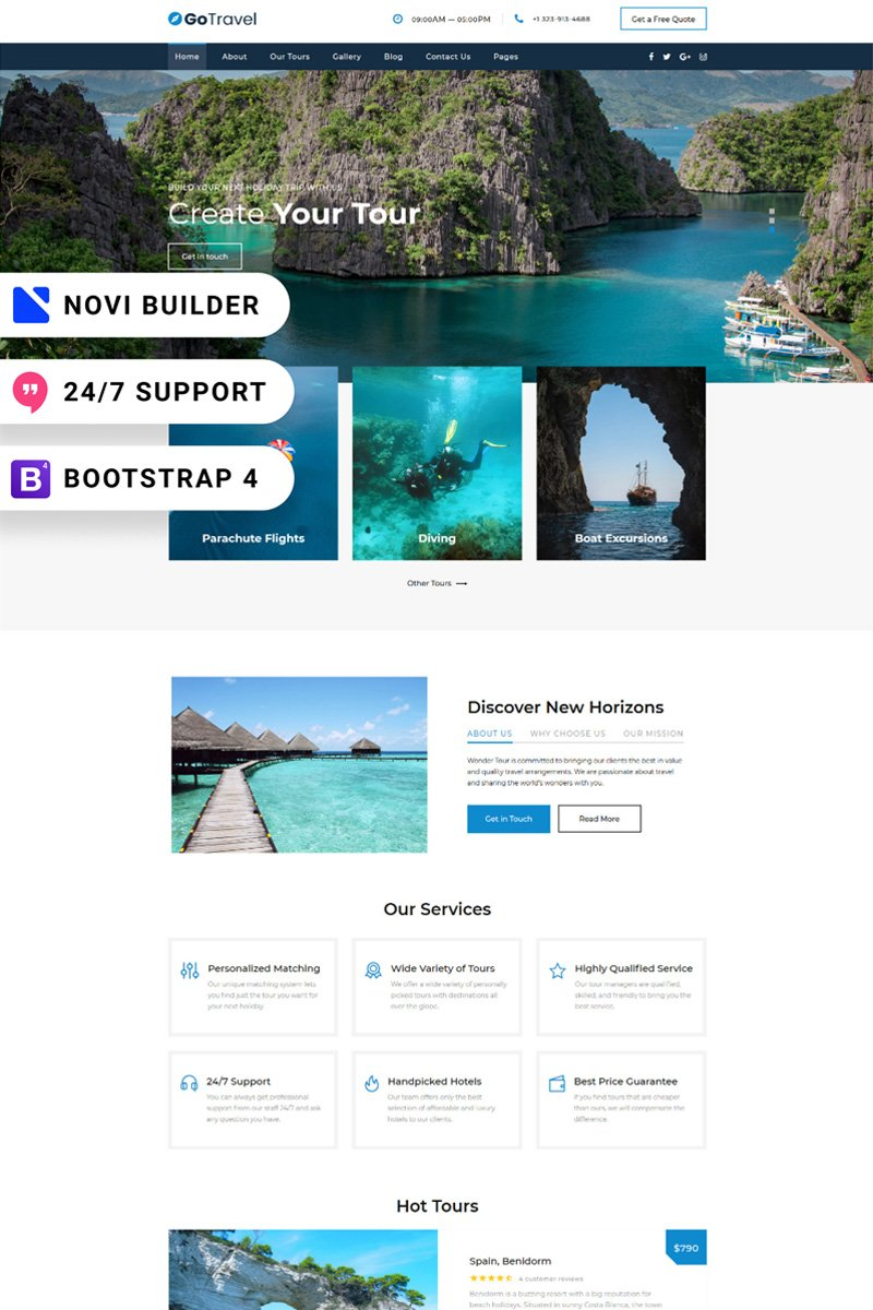 Reszponzív GoTravel - Novi Builder Online Tour Agency Weboldal sablon 94866