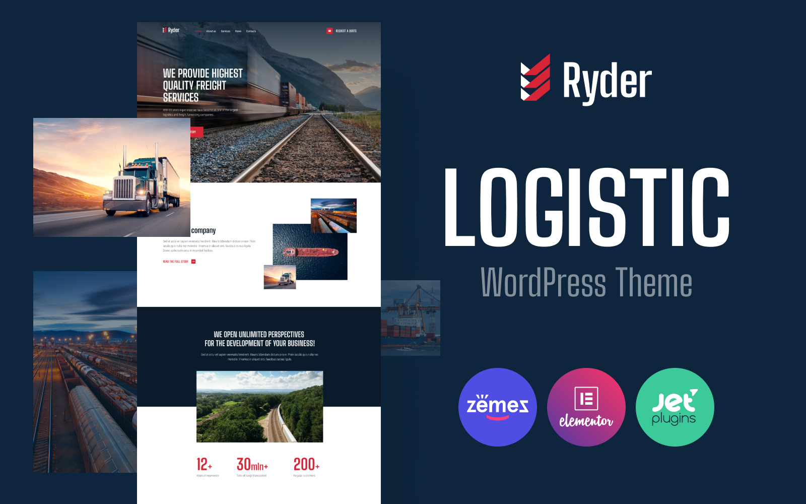 """Ryder - Logistic Website Design for Moving Companies"" 响应式WordPress模板 #94816"