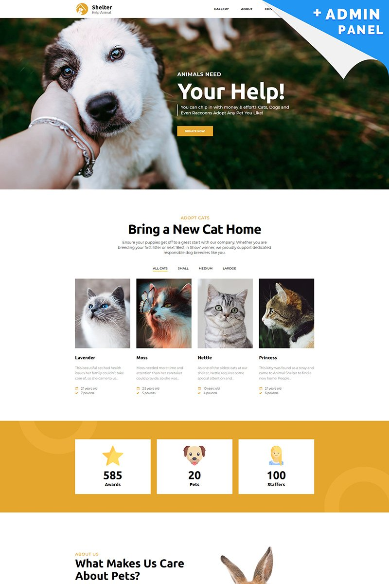 Shelter - Pet Adoption Landing Page Template