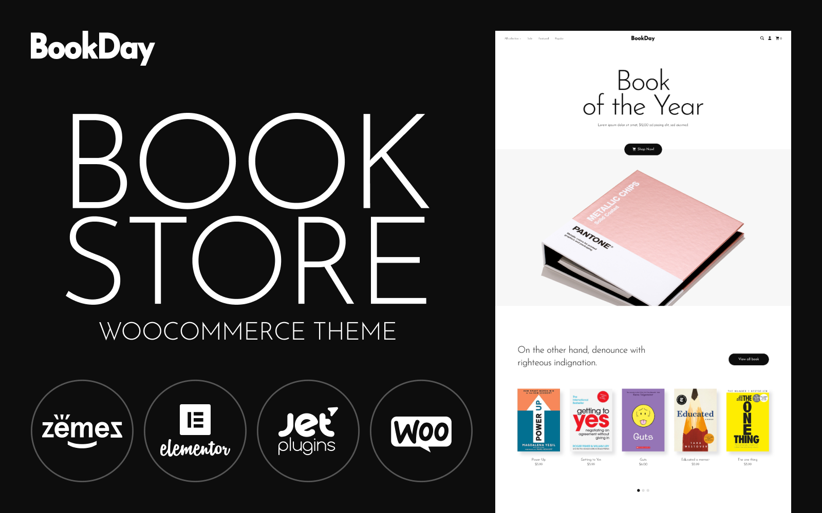 """Tema WooCommerce """"BookDay - Clean and Rapid Online Bookstore Website Design"""" #94894"""
