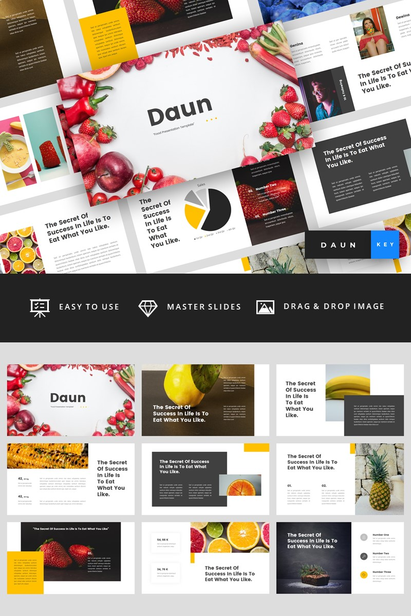 "Template Keynote #94825 ""Daun - Food"""