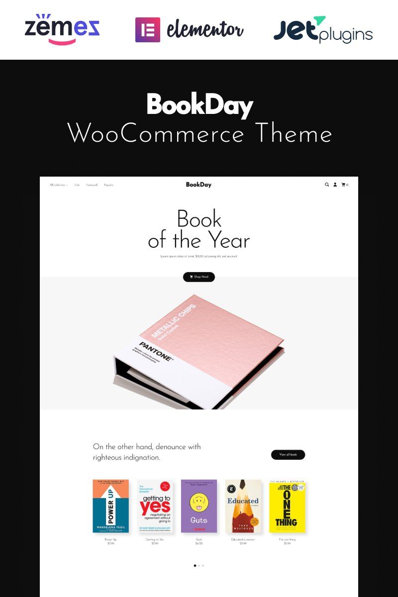 """Template WooCommerce Responsive #94894 """"BookDay - Clean and Rapid Online Bookstore Website Design"""""""