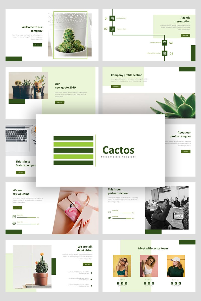 """Cactos Creative Business"" - PowerPoint шаблон №94927"