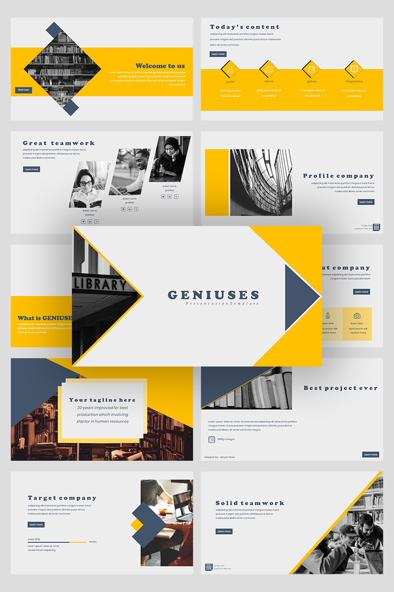 """Genuises Creative Business"" PowerPoint Template №94926"