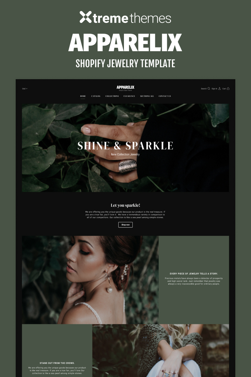 """""""Jewelry Online Store Shopify Theme"""" 响应式Shopify模板 #94969"""