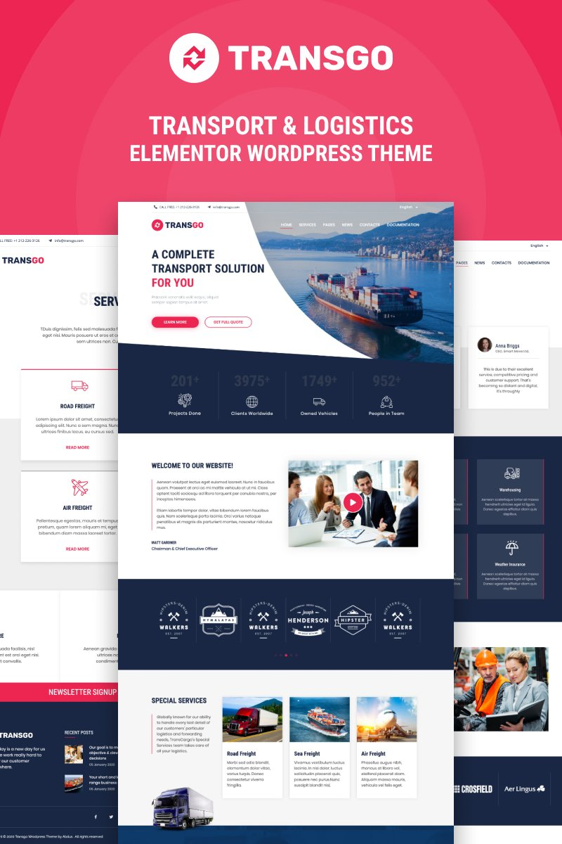 "Tema De WordPress ""TransGo - Transport & Logistics Elementor"" #94945"