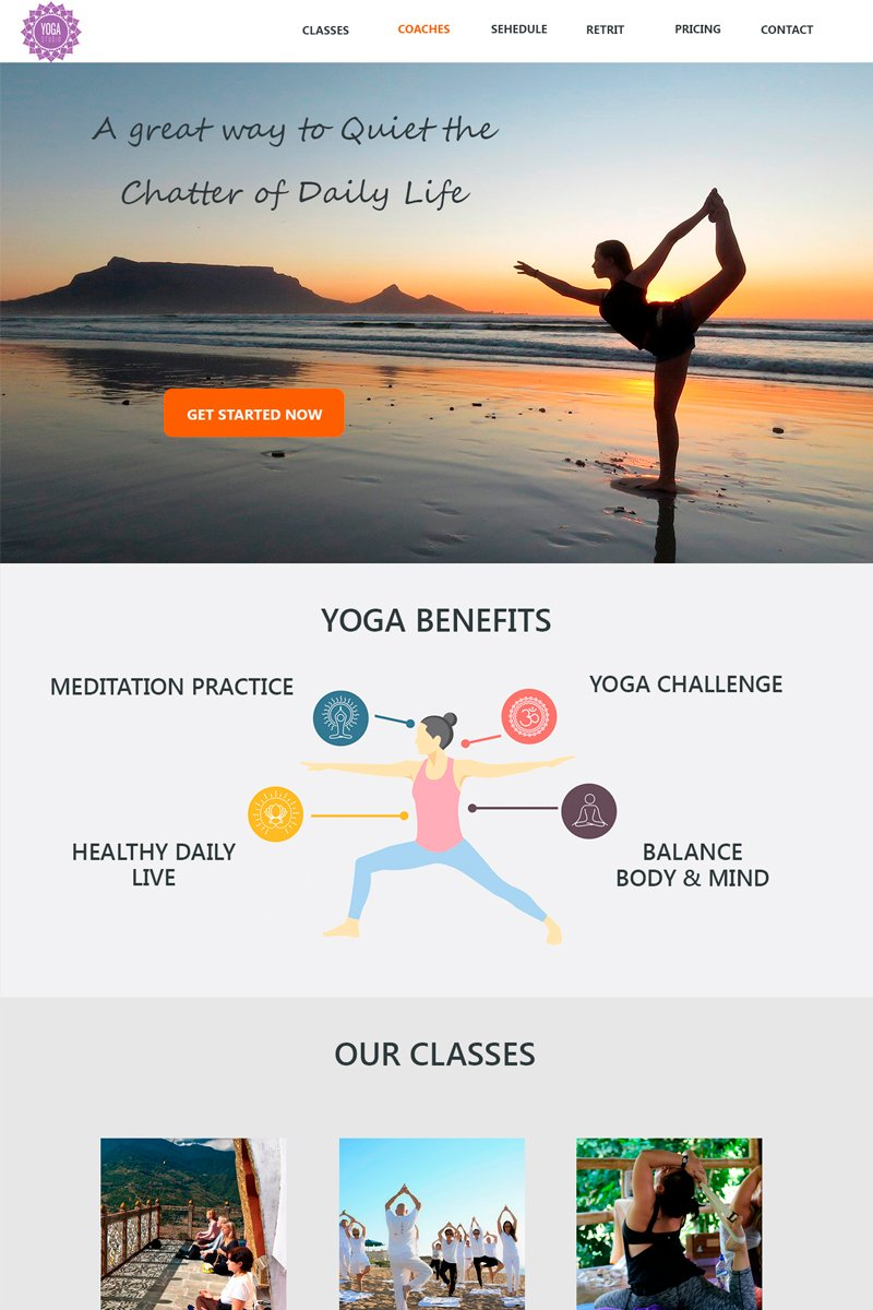 """Tema PSD #94974 """"Yoga Studio - Sport Simple Lading page Bootstrap"""""""