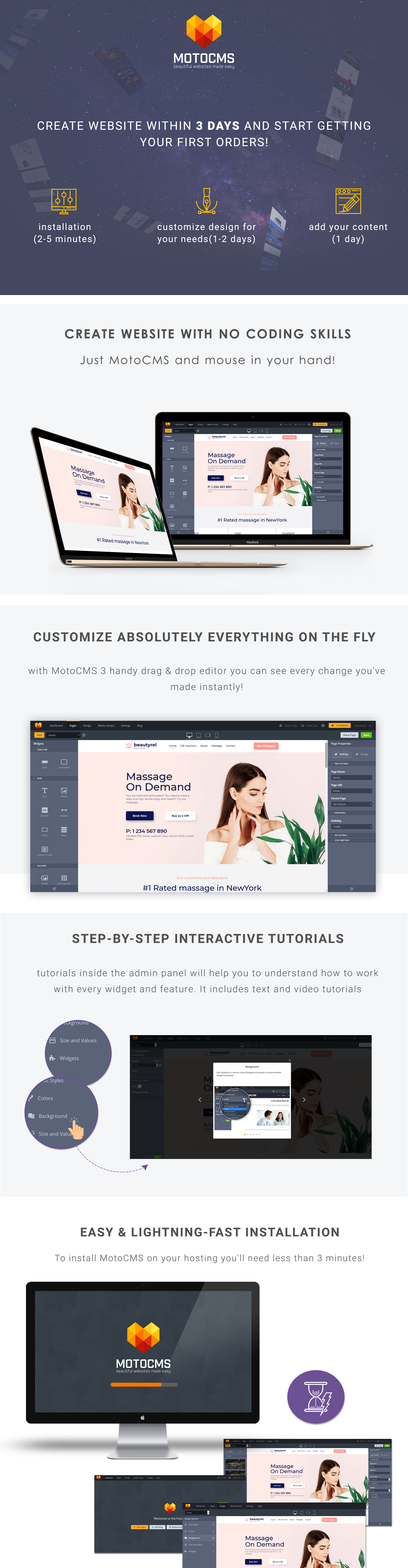 Beautyrel - Relaxing Therapy Moto CMS 3 Template