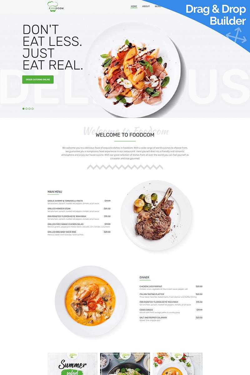 """""""Foodcom - Restaurant"""" Responsive Moto CMS 3 Template №95023"""
