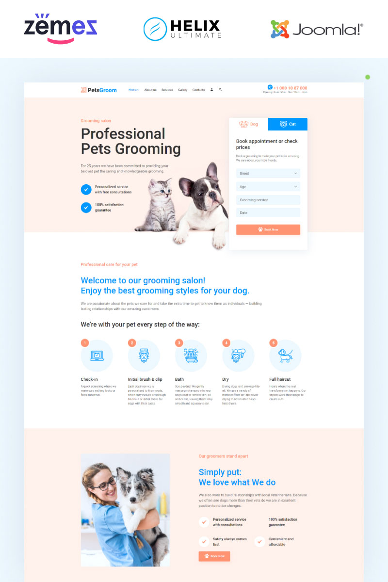 "Modello Joomla Responsive #95021 ""PetsGroom - Animals & Pets Multipage Clean"""