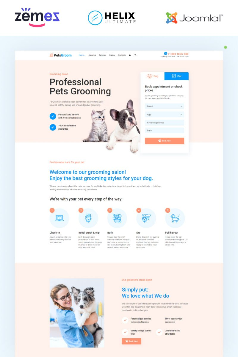 """PetsGroom - Animals & Pets Multipage Clean"" Responsive Joomla Template №95021"
