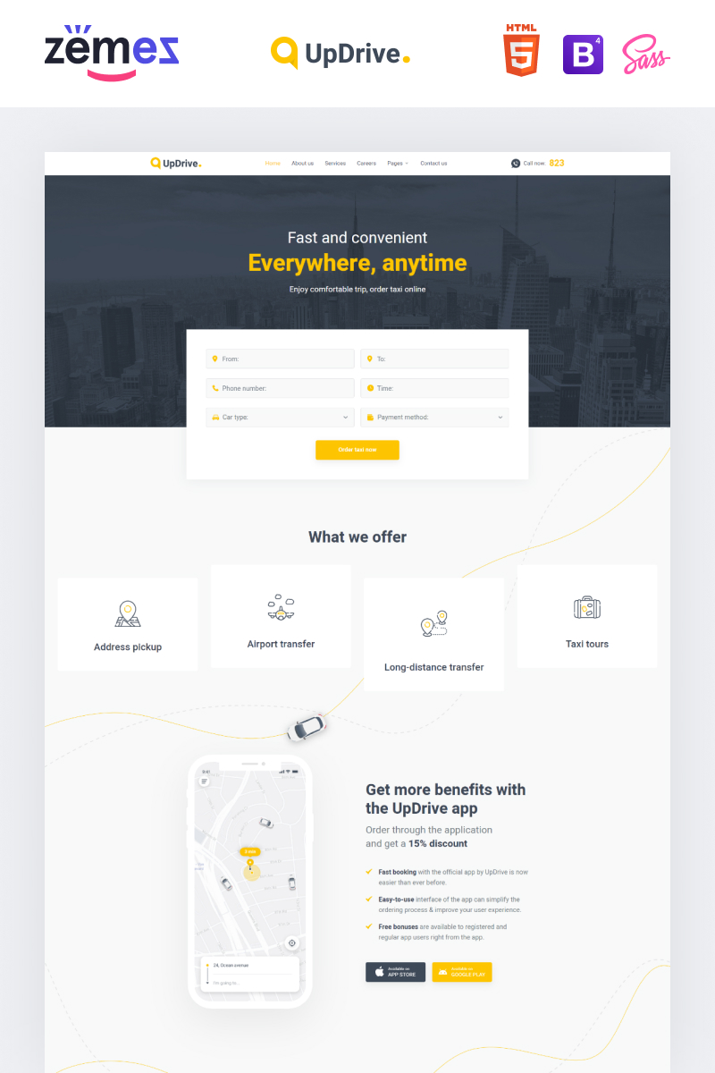 UpDrive - Online Taxi Service Website Template