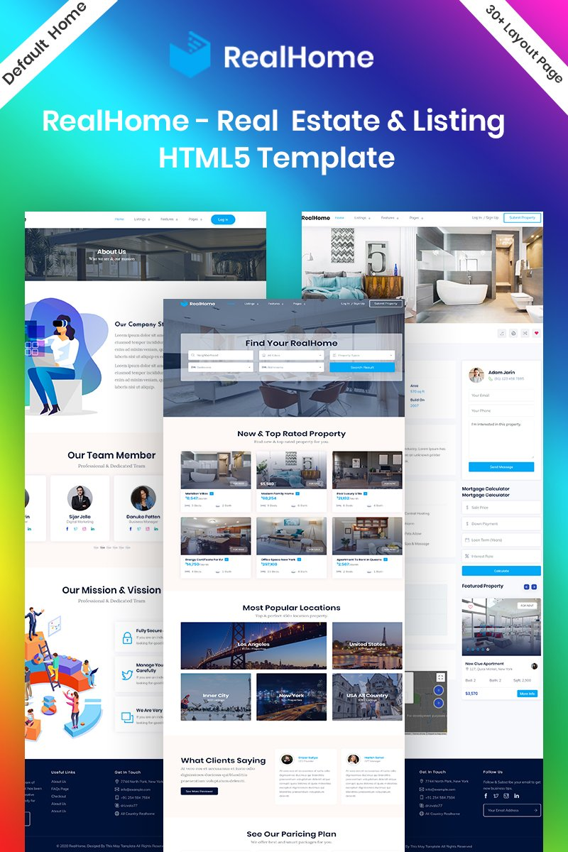"Website Vorlage namens ""RealHome - Listing & Real Estate HTML5 Bootstrap"" #95094"