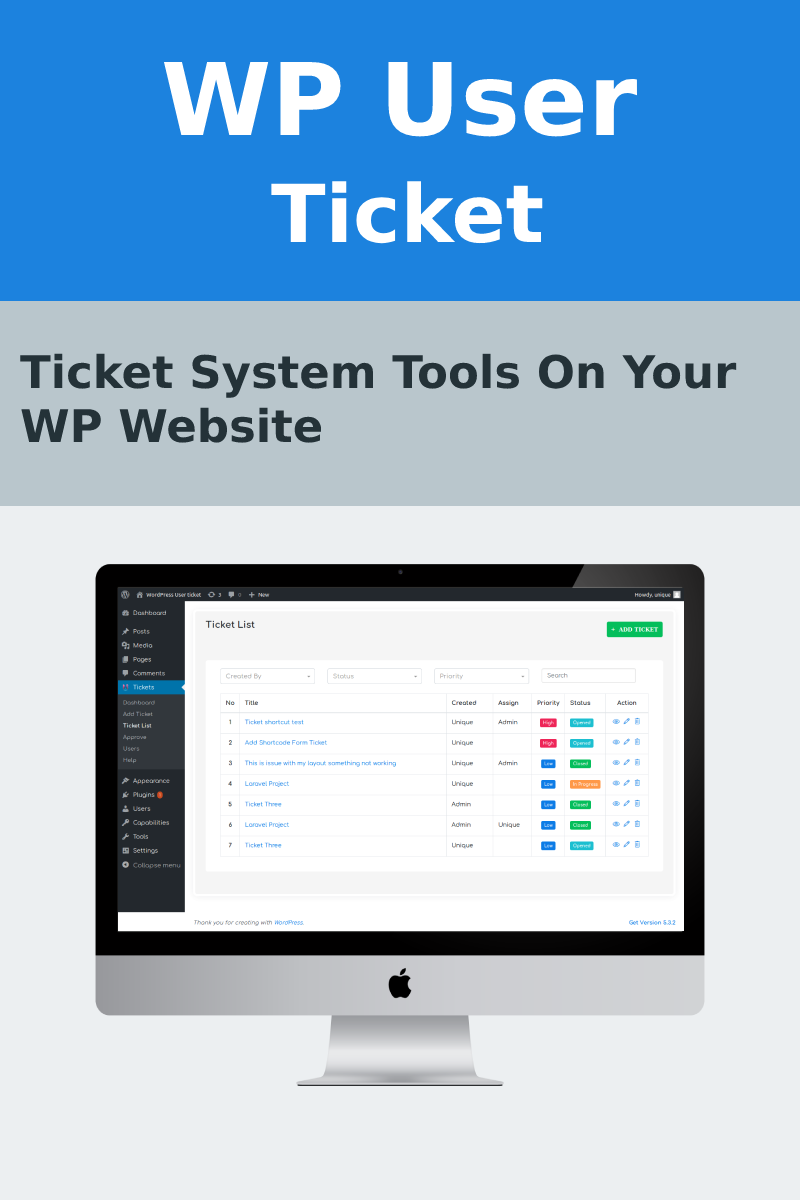 Wp User Ticket WordPress Plugin