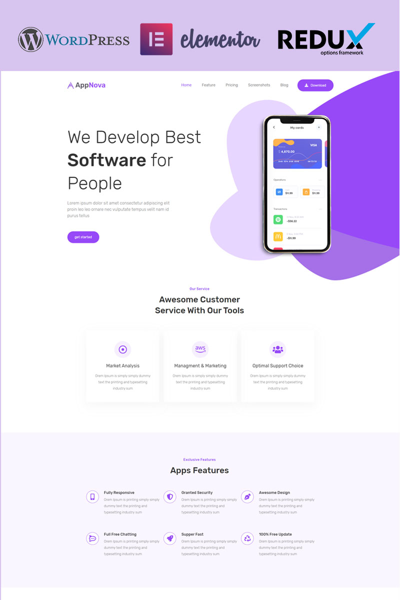 Appnova - App Landing WordPress sablon 95166