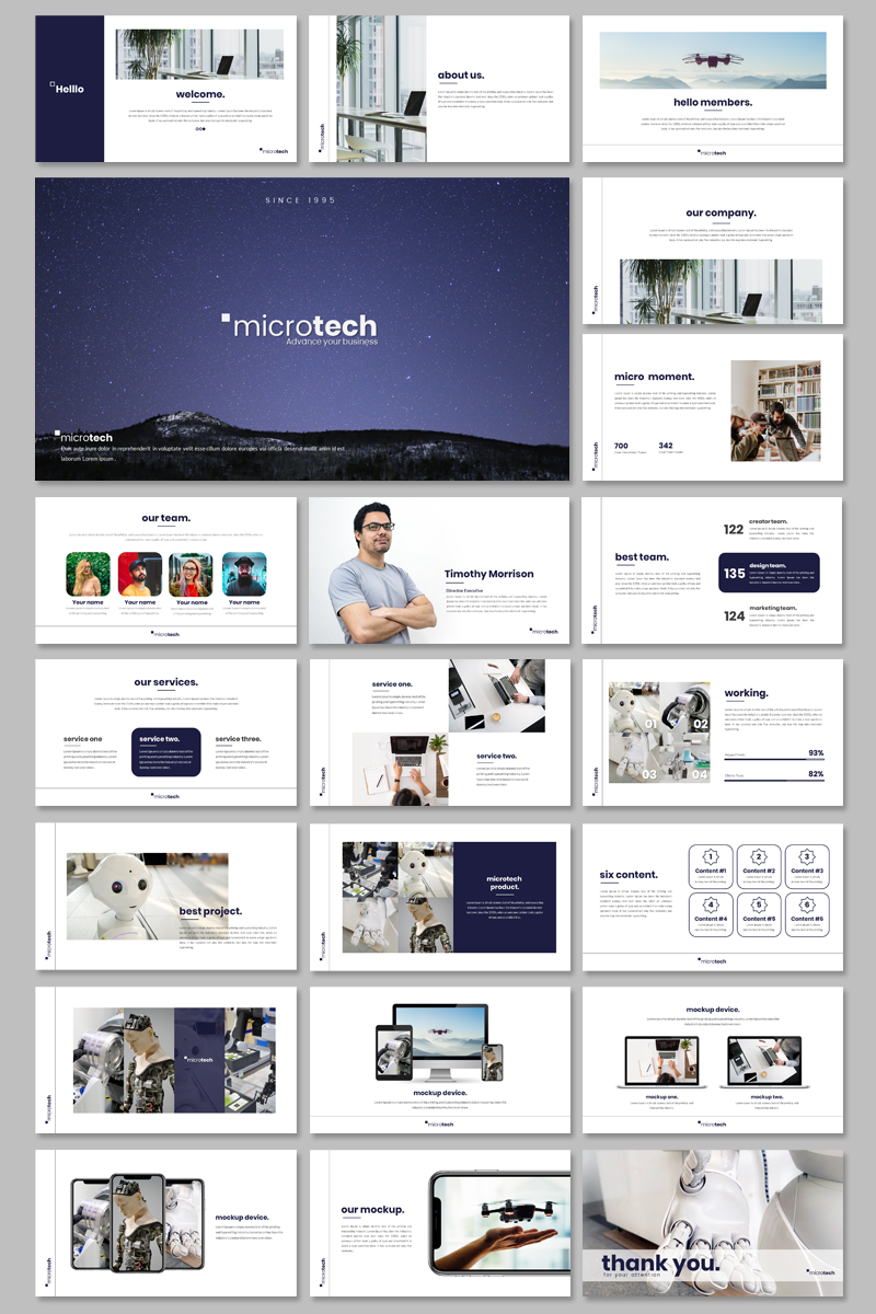 """Microtech - Business"" PowerPoint Template №95133"
