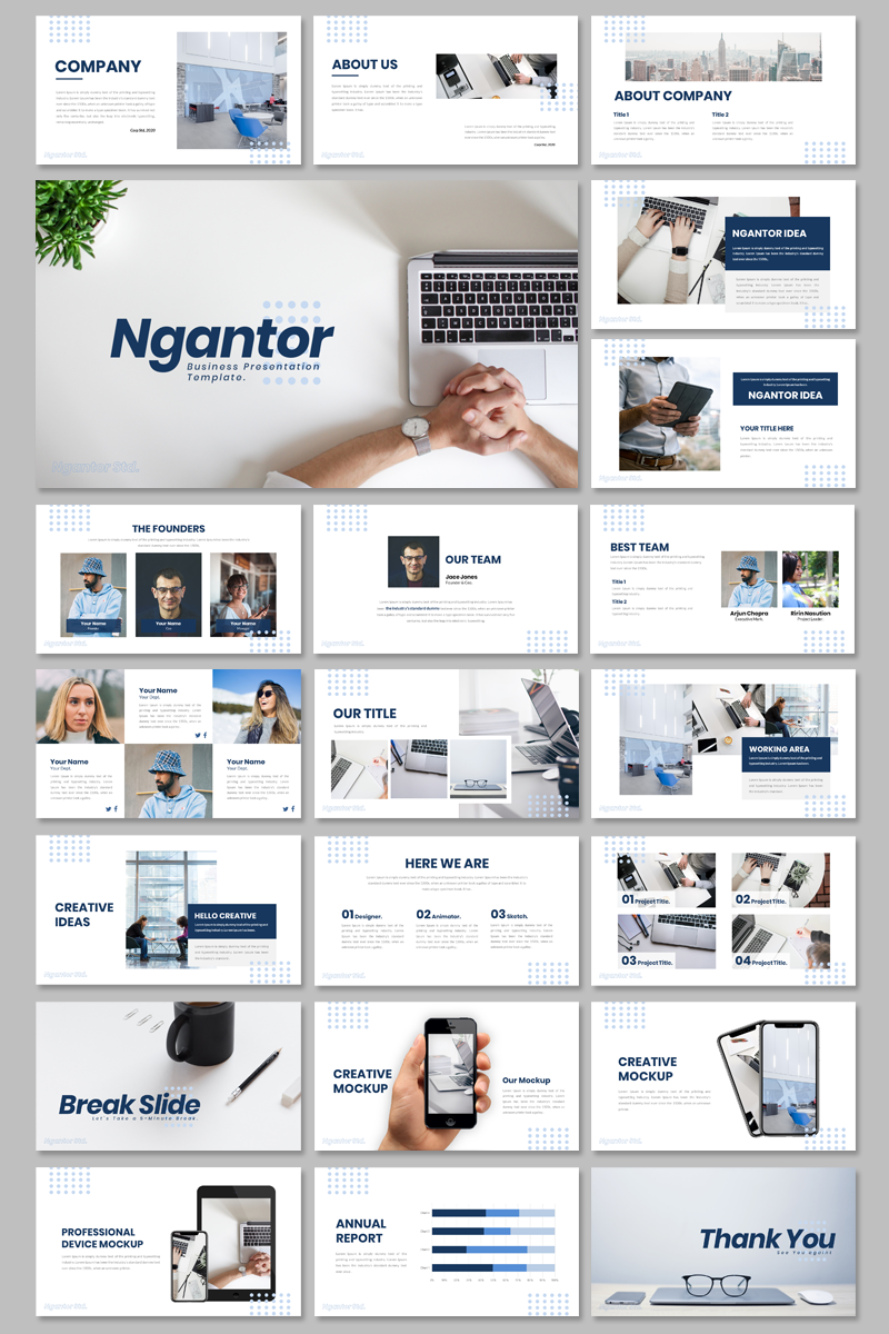 """""""Ngantor - Business"""" PowerPoint 模板 #95134"""