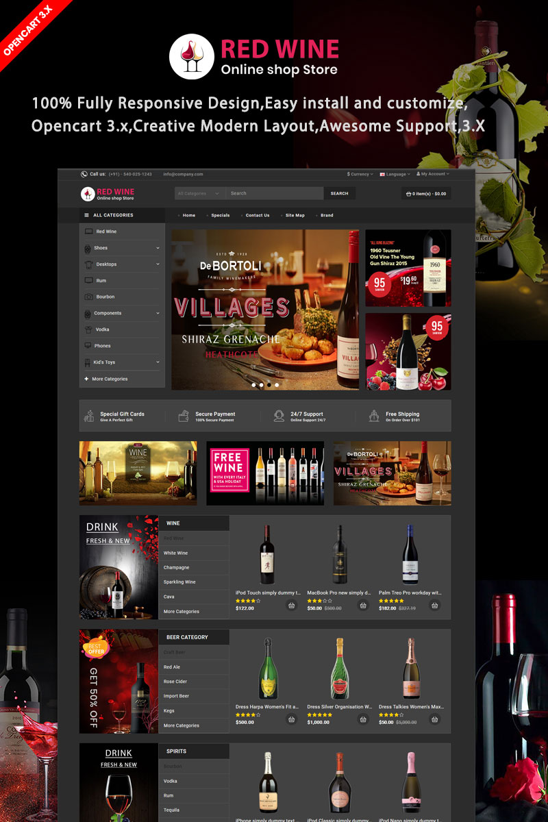 Redwine Responsive OpenCart Template - screenshot