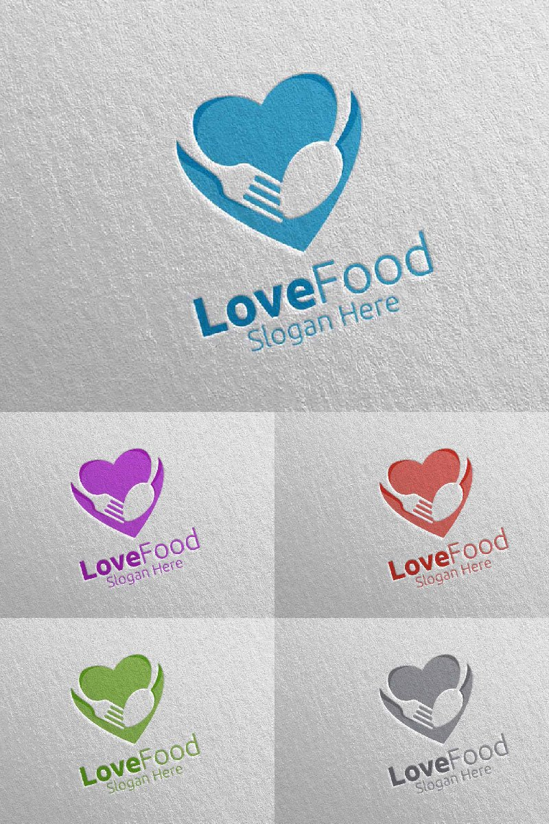"""Template di Loghi #95188 """"Love Healthy Food for Restaurant or Cafe 11"""""""