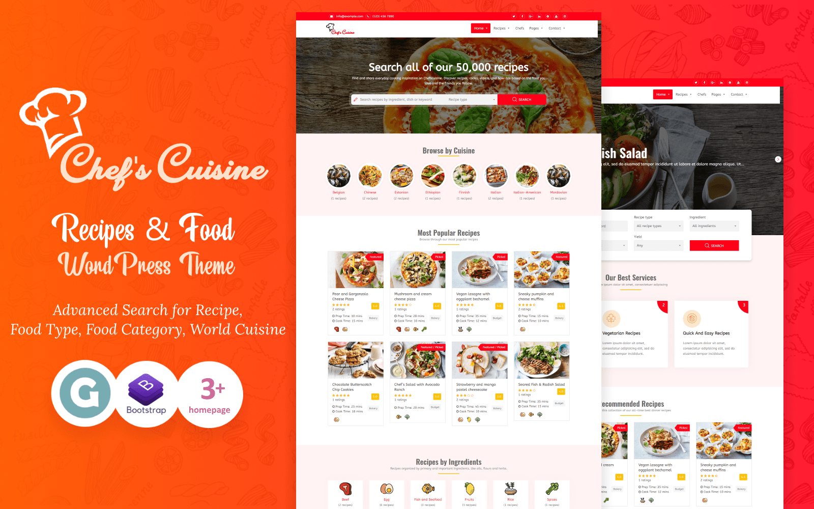 "Template WordPress Responsive #95170 ""Chef's Cuisine - Responsive Recipe"""
