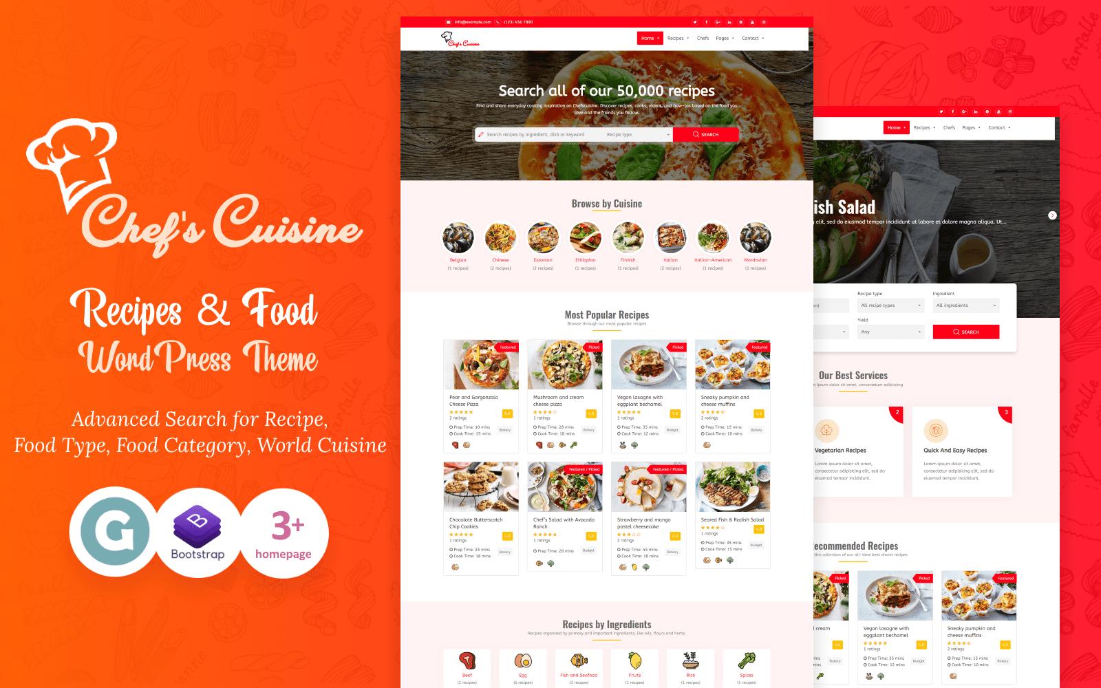 "WordPress Theme namens ""Chef's Cuisine - Responsive Recipe"" #95170"