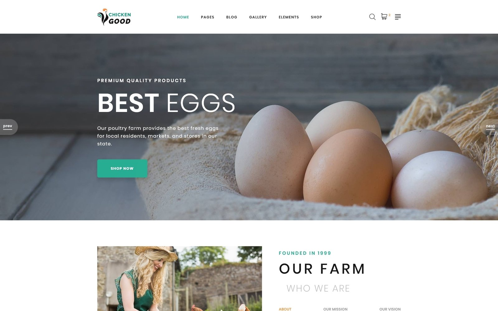 """""""Chicken Good - Poultry Farm Multipage HTML"""" 响应式网页模板 #95263"""