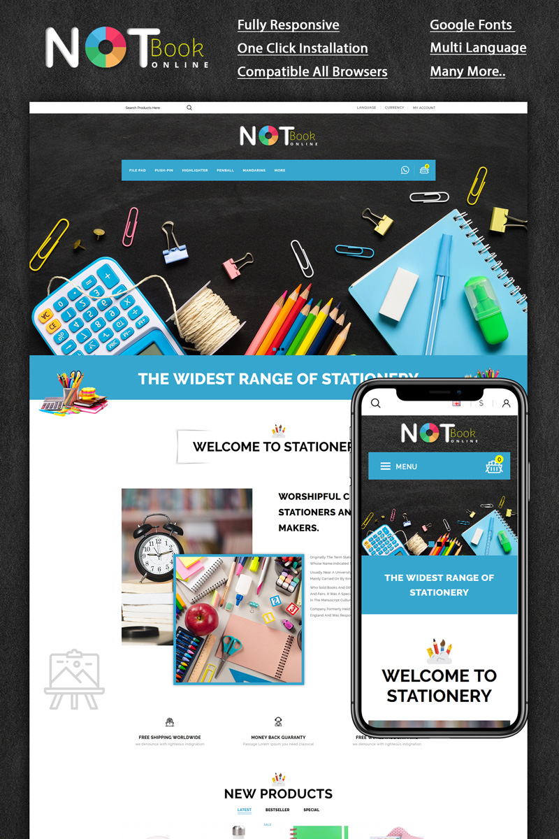 """""""Notebook Stationery Store"""" Responsive OpenCart Template №95290"""