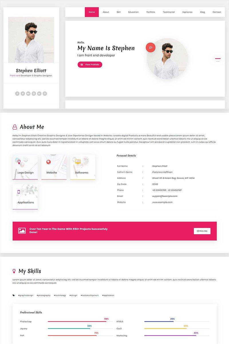 Stephen - Resume HTML Landing Page Template - screenshot