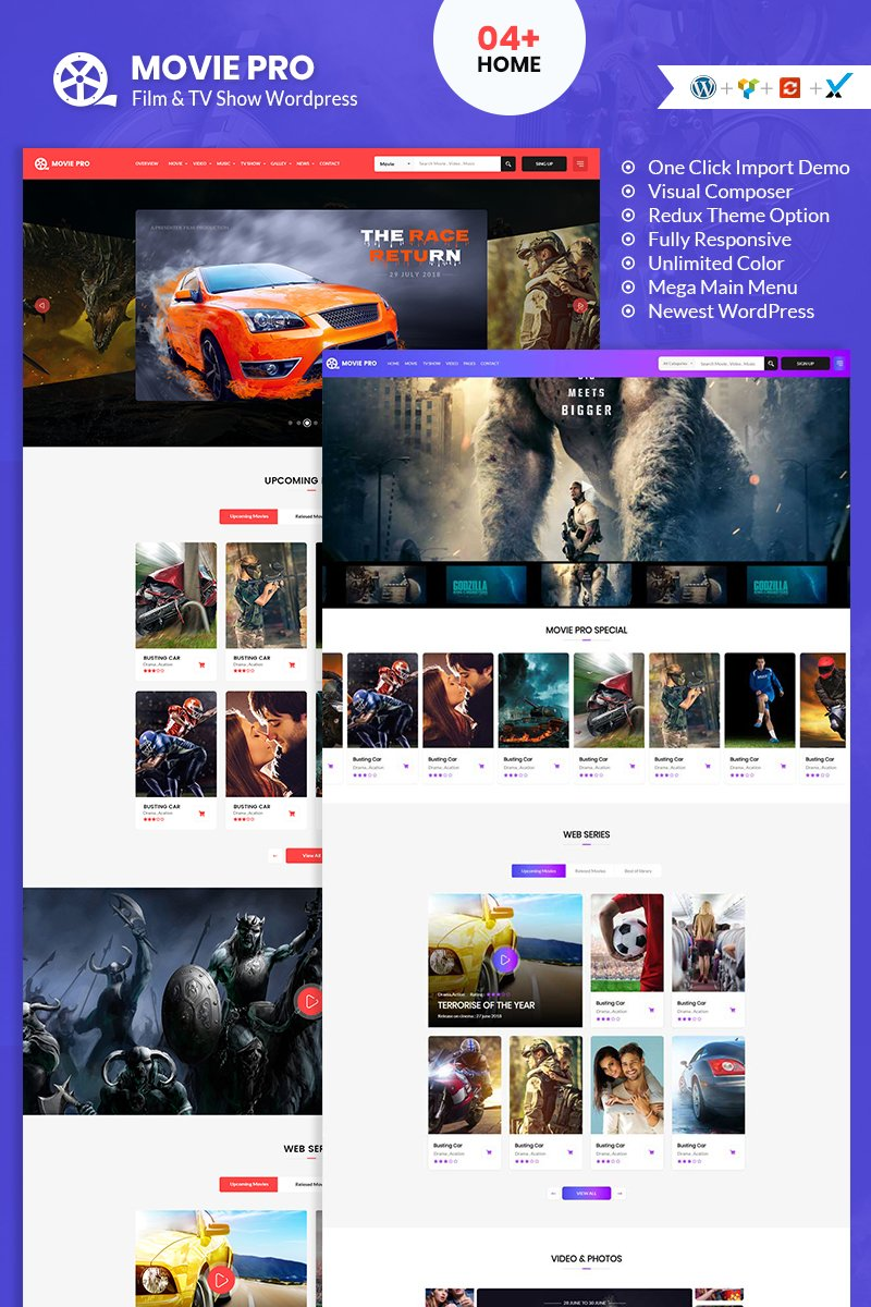 "Tema De WordPress ""Movie Pro Film, Video and TV Show"" #95294"