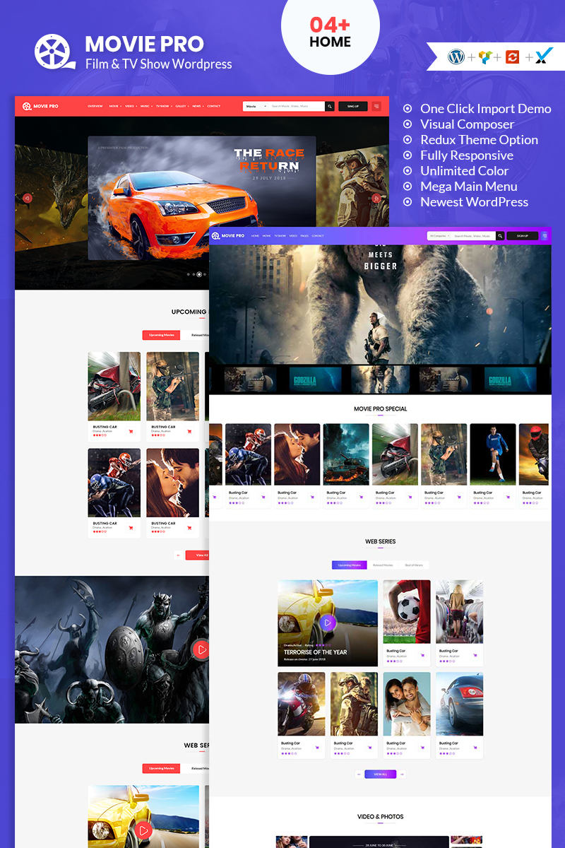 "WordPress Theme namens ""Movie Pro Film, Video and TV Show"" #95294"