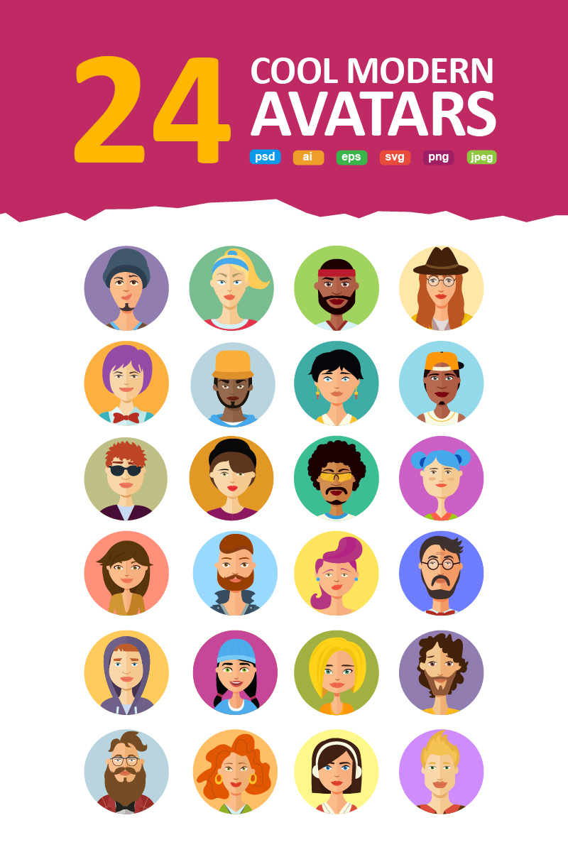 Avatars vector People Collection Iconset Template - screenshot