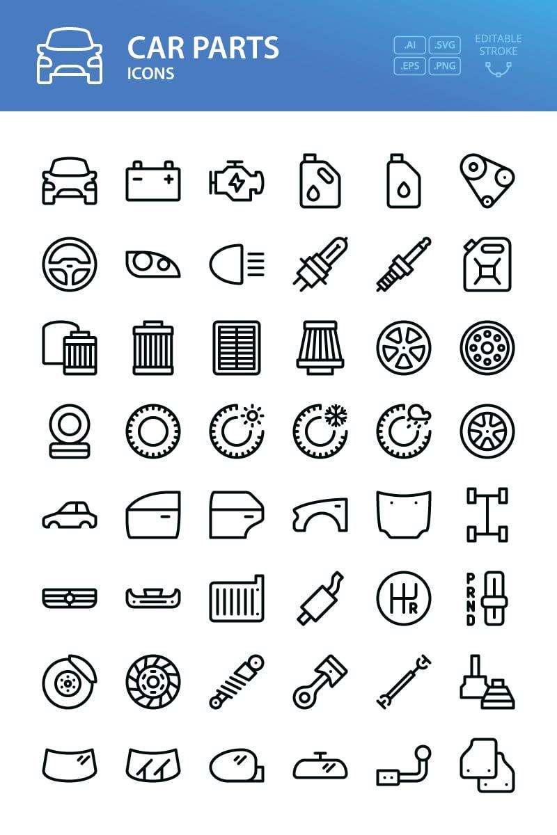 Car parts - 48 outline vector symbols Iconset Template - screenshot