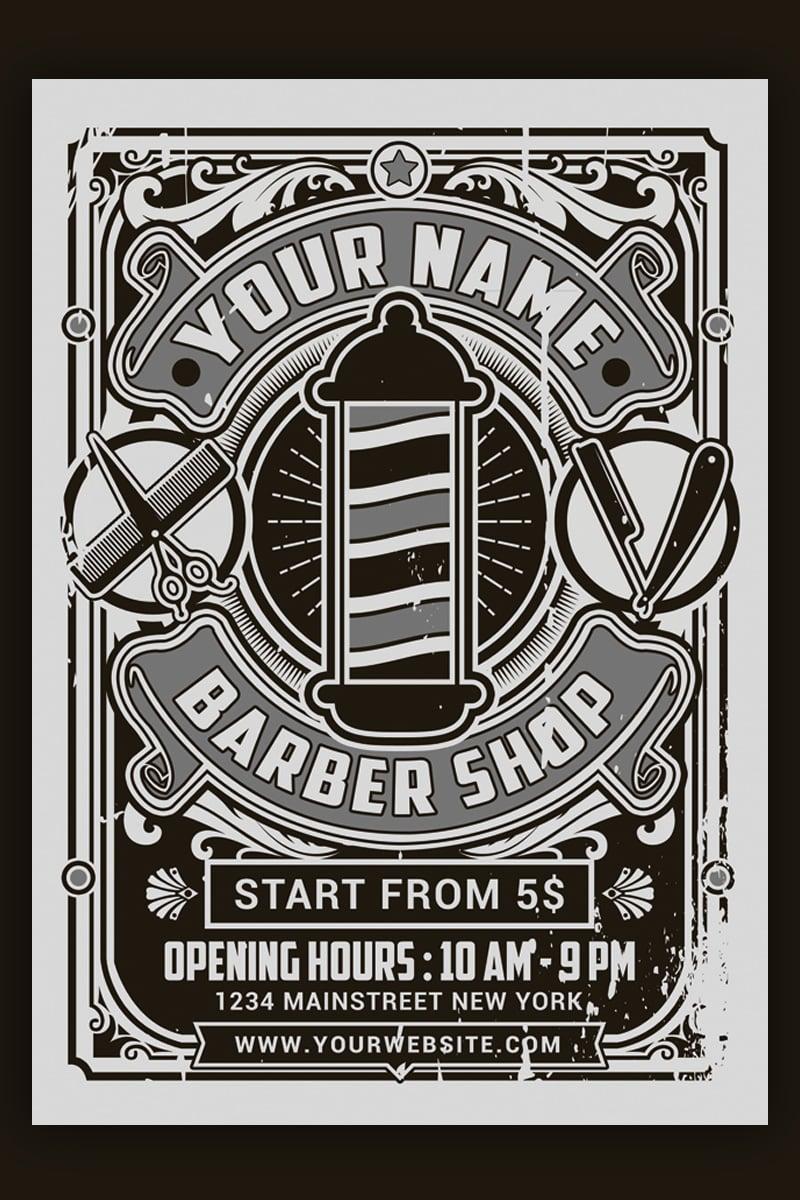 Retro Barber Shop Flyer Corporate Identity Template - screenshot