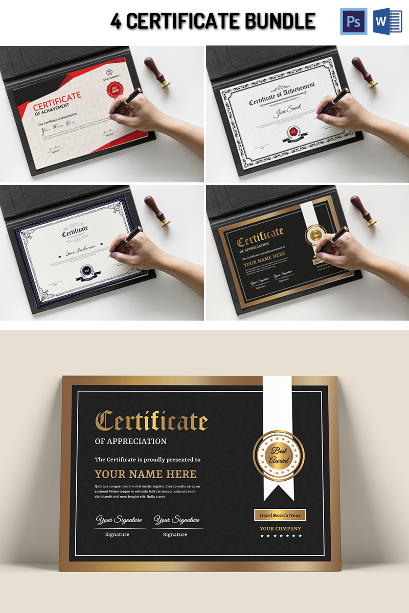 """""""Smeet 4"""" modèle de certificat  #95385"""