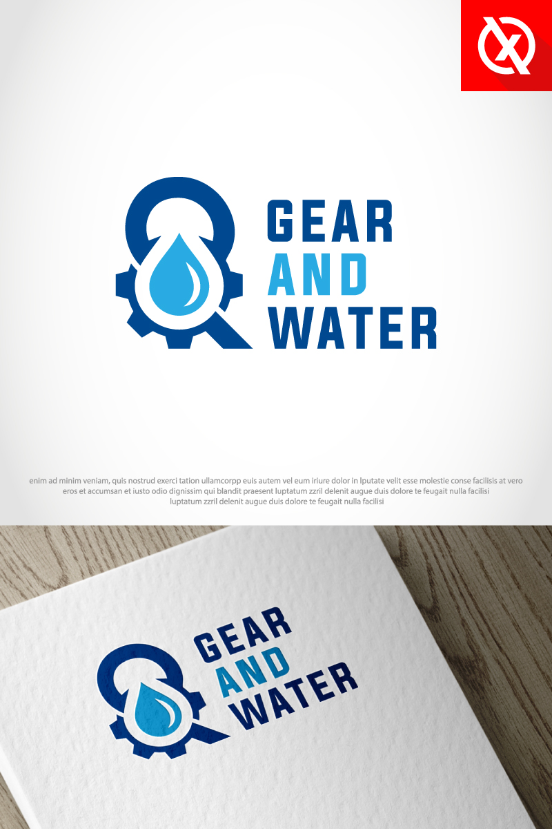 Gear And (&) Water - Plumbing Logo Template - screenshot