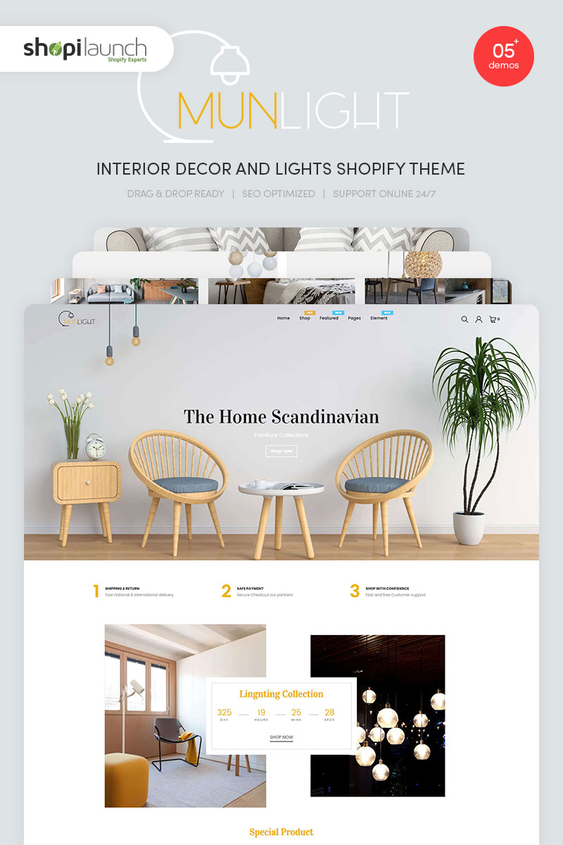 Munlight - Interior Decor and Lights Shopify Theme - screenshot