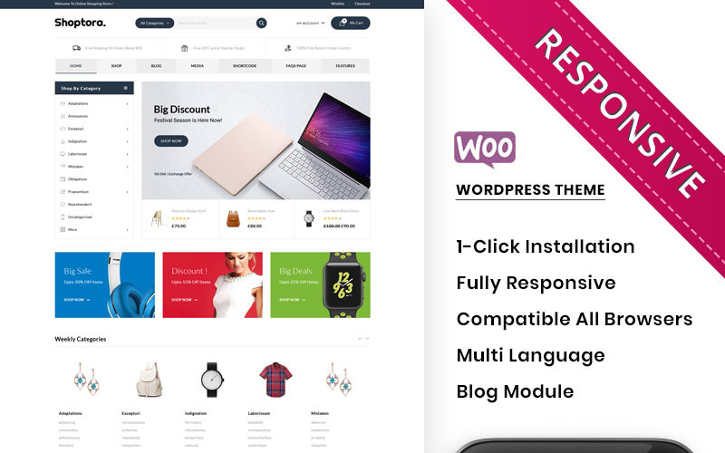 Shoptora - The Mega Store Premium WooCommerce Theme