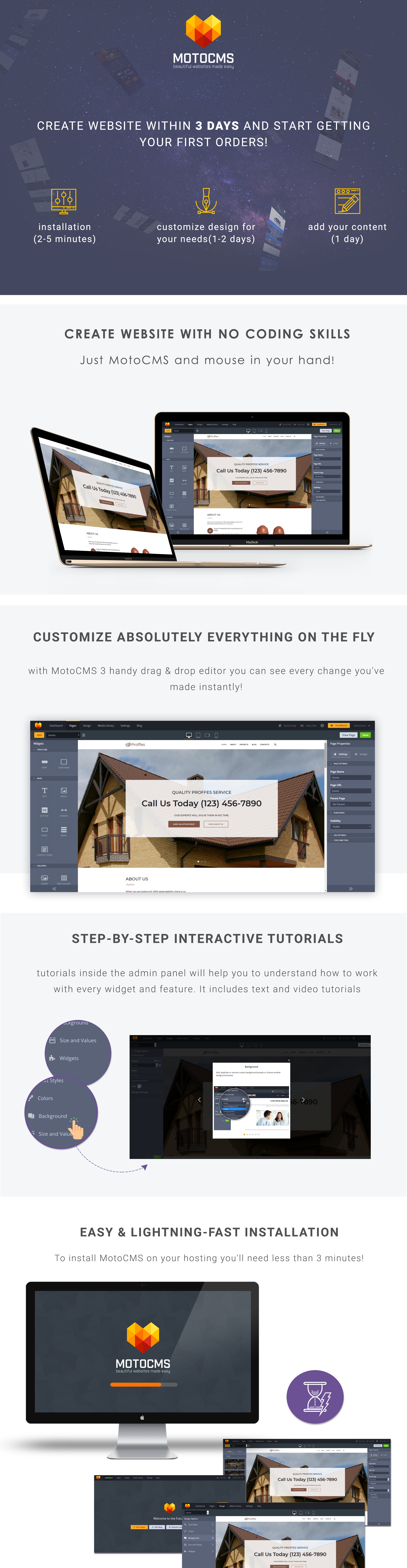 Proffes - Roof Services Moto CMS 3 Template