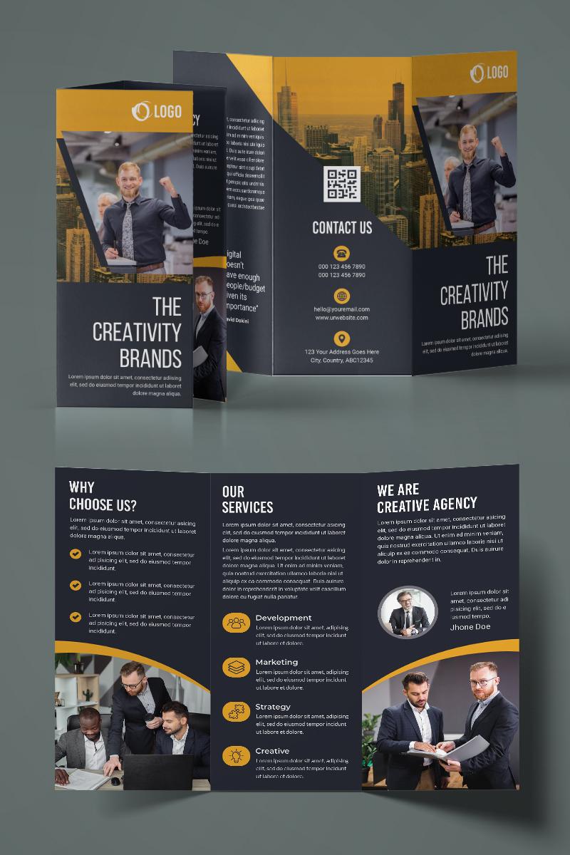 Black Trifold Brochure Design Corporate Identity Template - screenshot