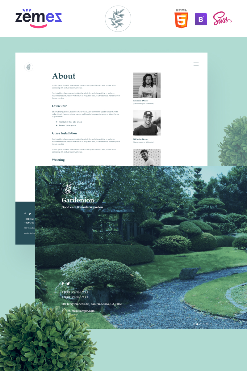 """""""Gardenion - Landscape and Garden Design"""" 响应式网页模板 #95584"""