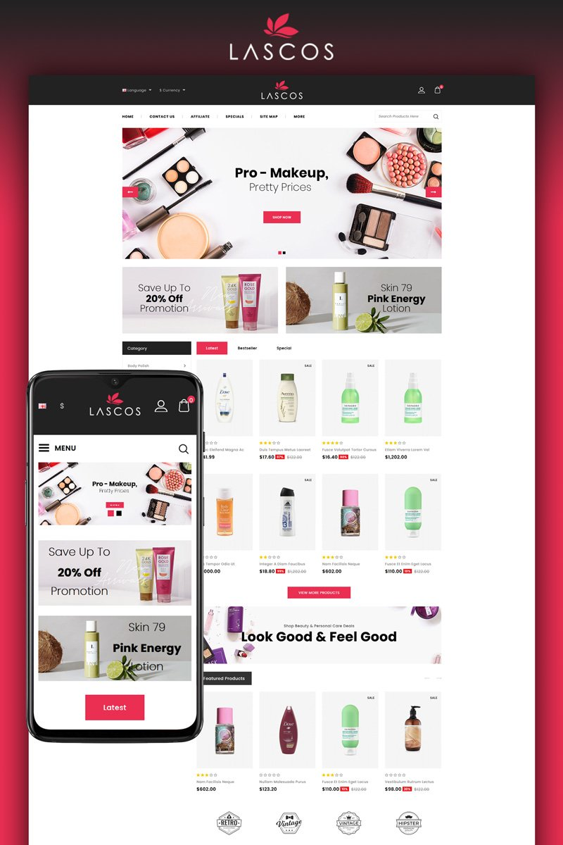 """Lascos - Beauty Store"" OpenCart Template №95503"