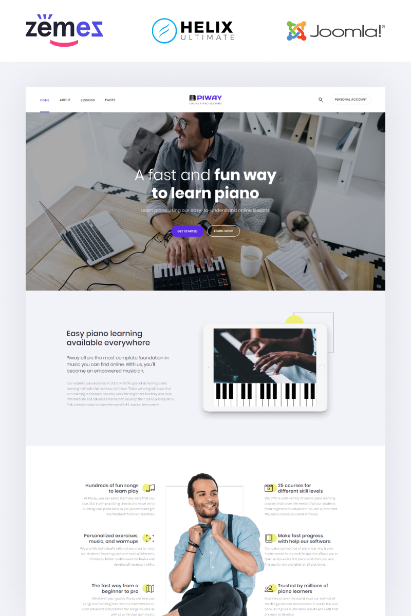Piway - Music Multipage Creative Template Joomla №95533 - screenshot