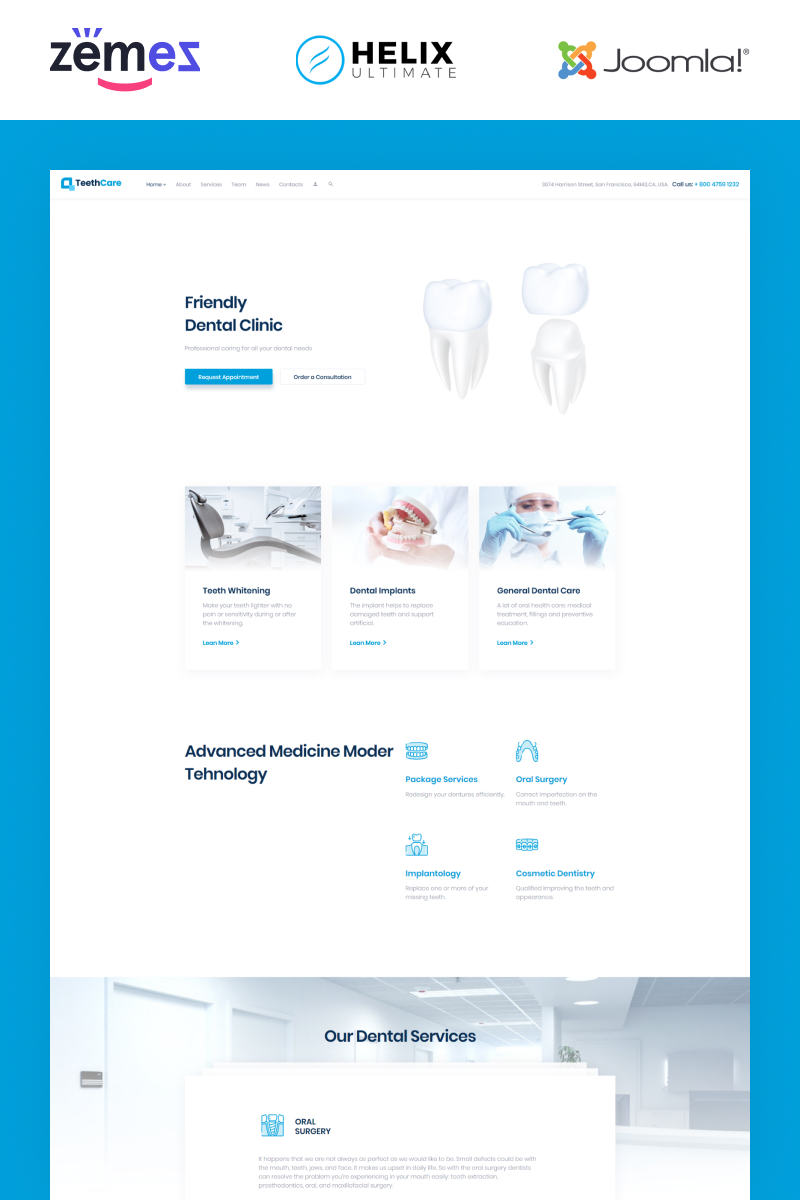 Responsive TeethCare - Dental Responsive Clean Joomla #95586