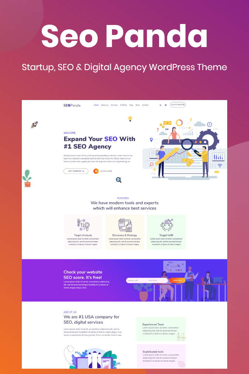 """SeoPanda - Digital agency, seo & startup"" thème WordPress adaptatif #95505"