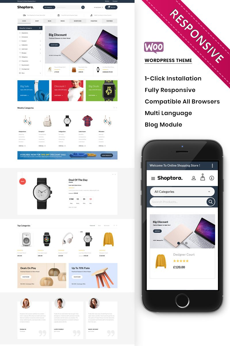 Shoptora - The Mega Store Premium WooCommerce Theme - screenshot