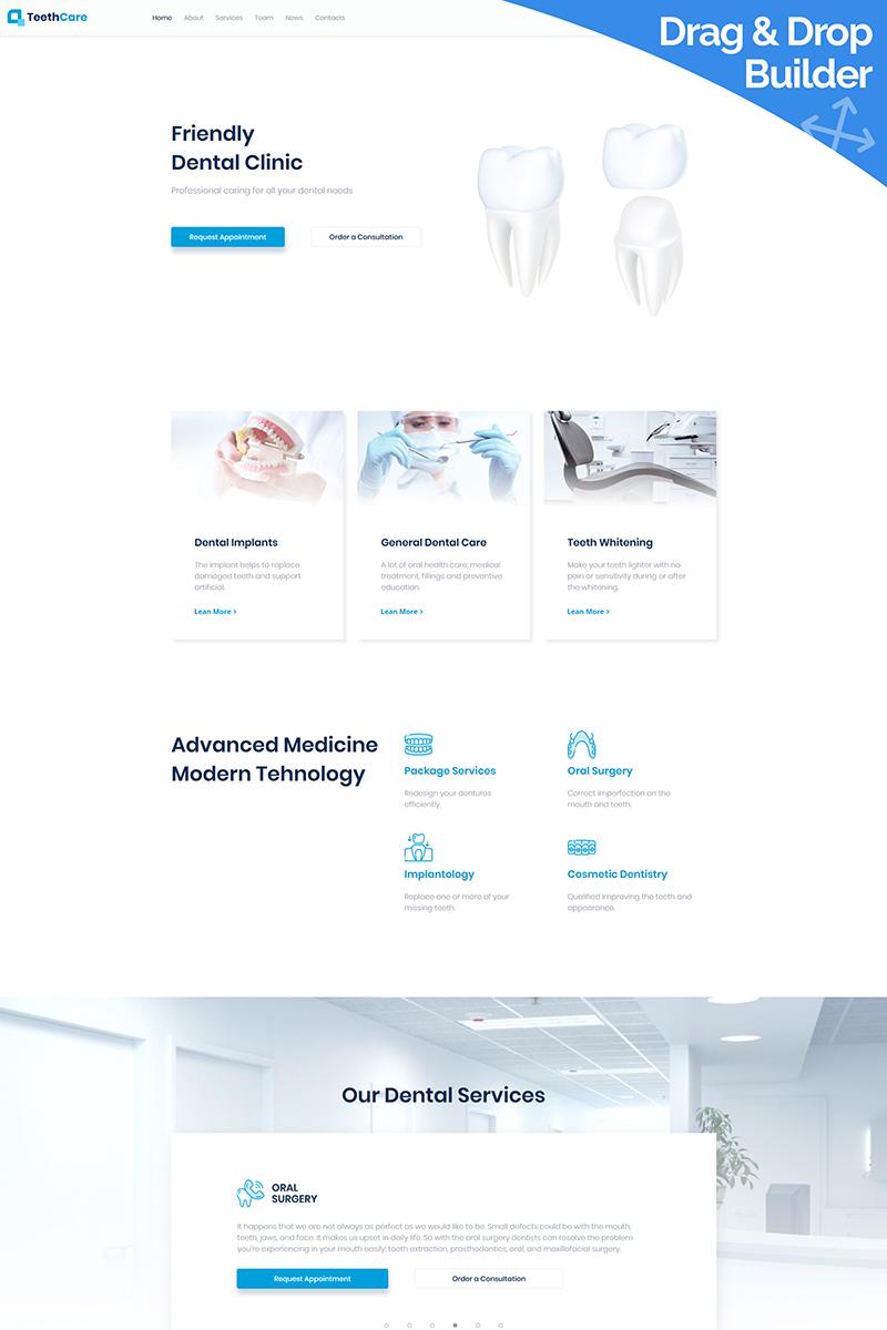 """TeethCare - Dentistry Classic"" 响应式Moto CMS 3 模板 #95506"