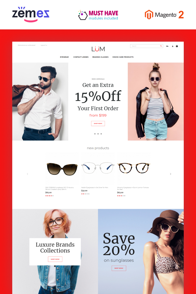 "Tema Magento ""Lum - Optometry Store Template"" #95507"