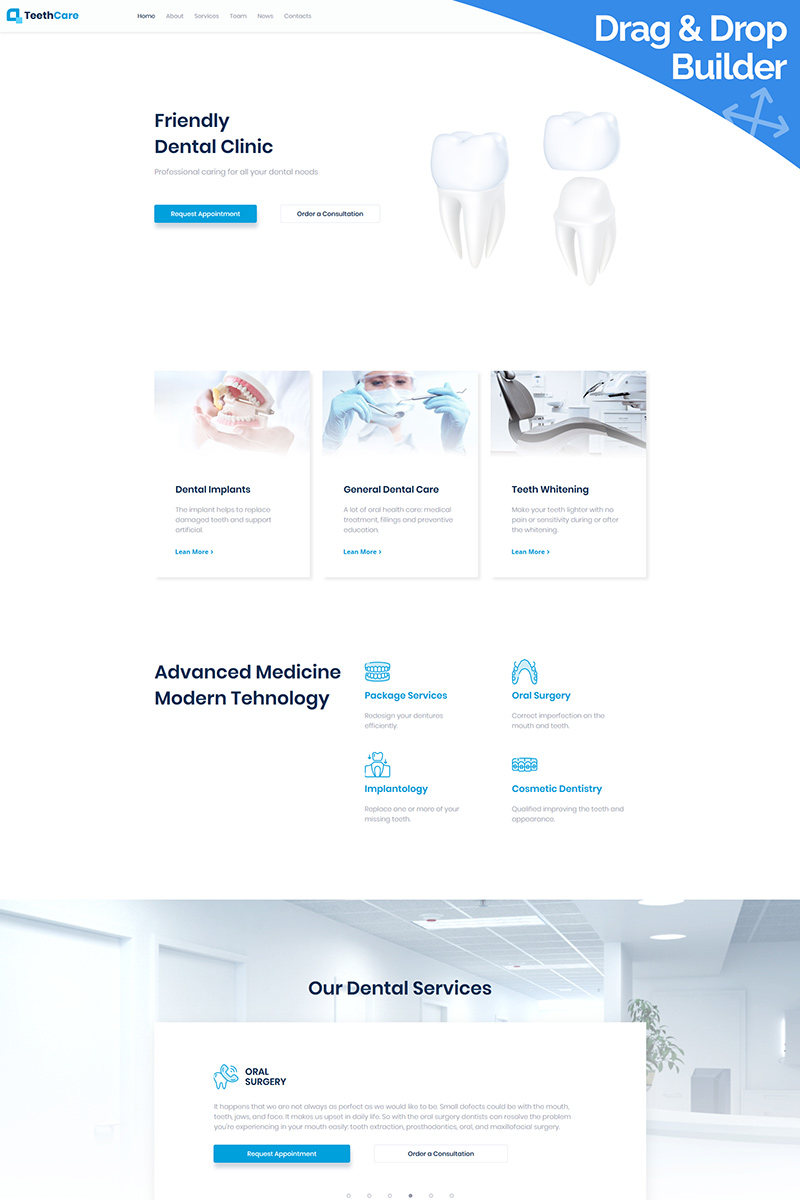 """Template Moto CMS 3 Responsive #95506 """"TeethCare - Dentistry Classic"""""""